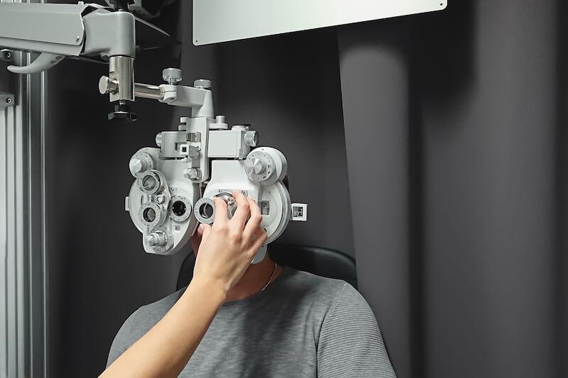 Patient undergoes eye exam