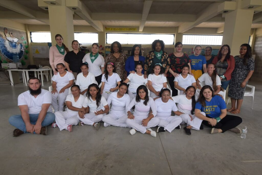 A delegation of legislators from six's reproductive freedom leadership council meet with el salvadoran women serving time for abortion, which is banned in the country.
