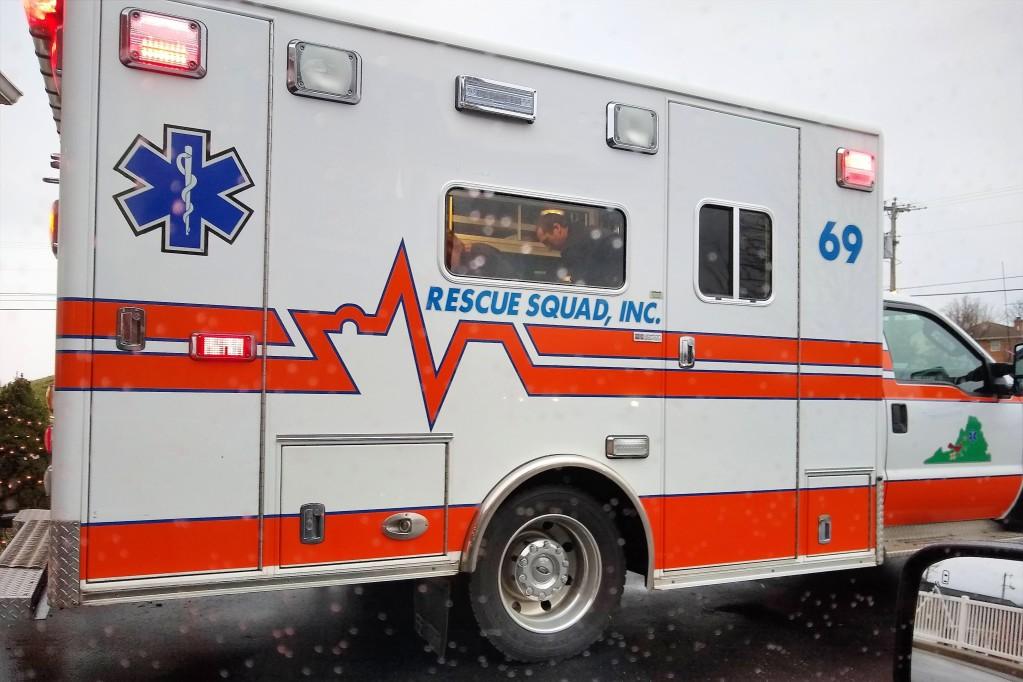 Ambulance with flashing lights