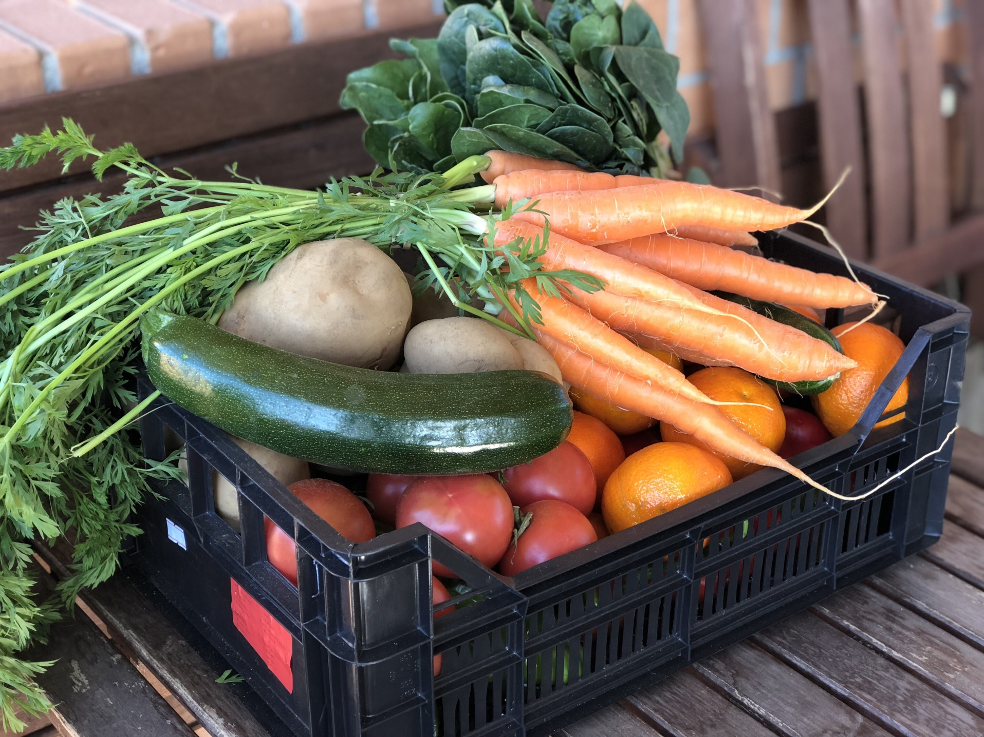 Assorted vegetables in crate