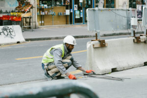 Construction worker on road