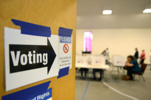 Room of voters at polling location