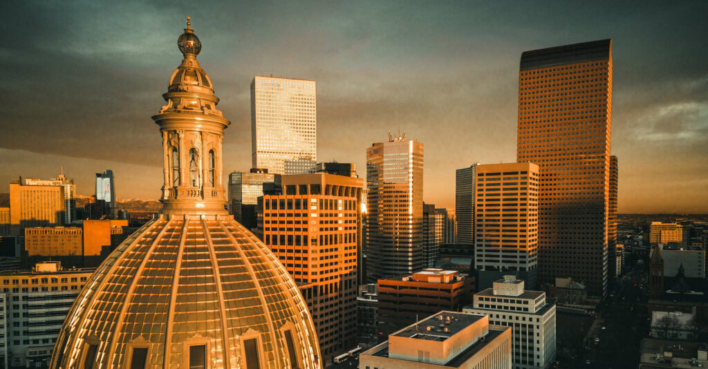 Aerial of colorado state capitol dome