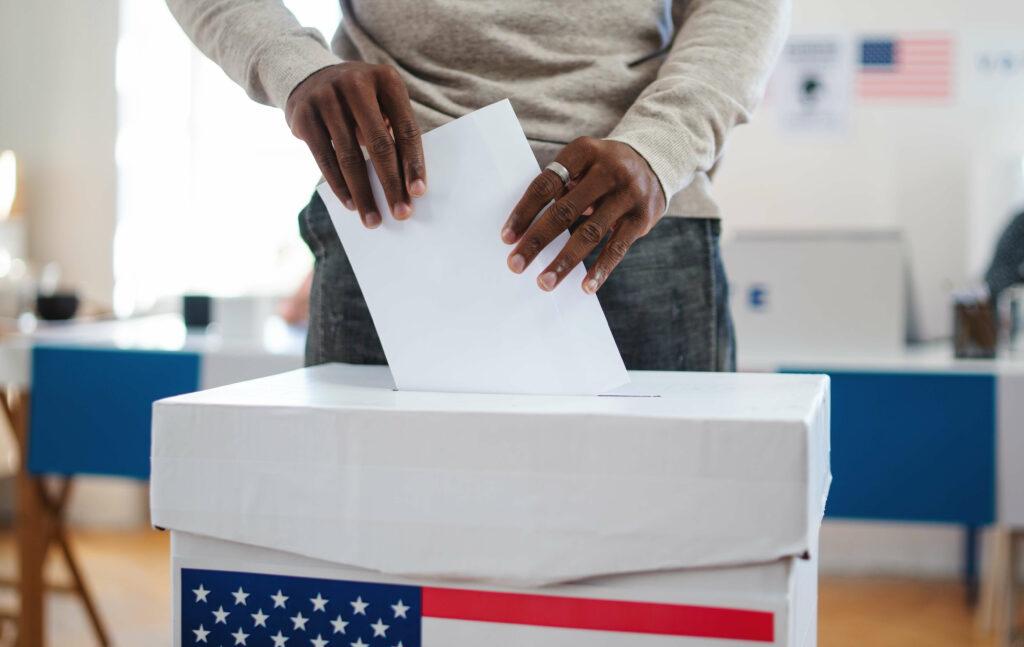 African american man hands voting