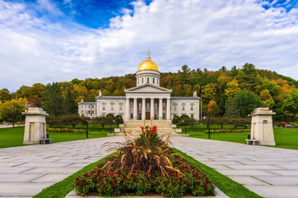 Exterior of the vermont state capitol building