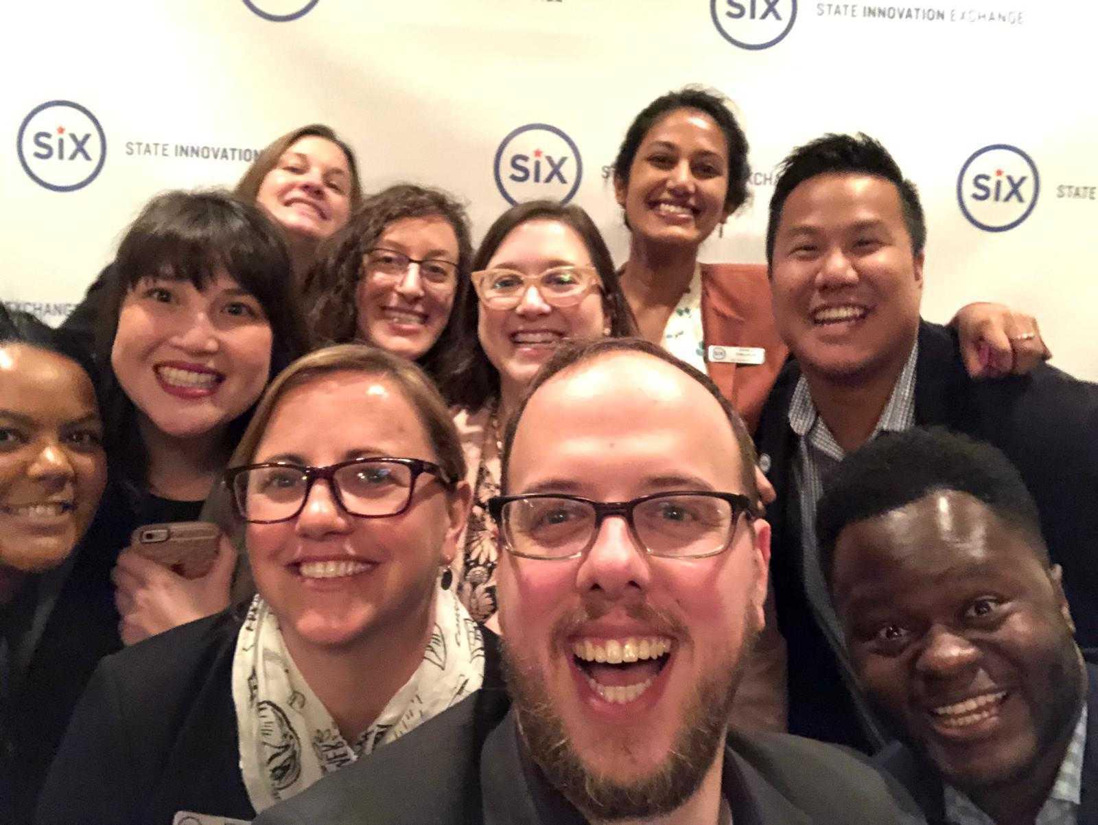 Six staff selfie