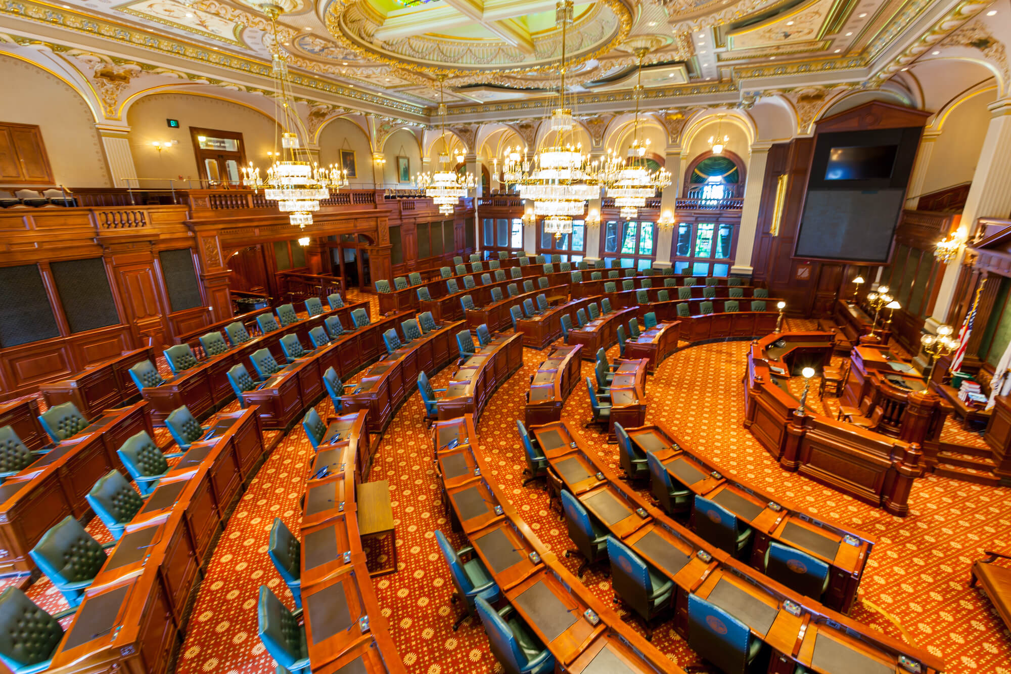 Interior of the Senate Chamber of the Illinois State Capitol