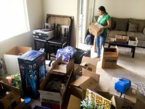 Person packing up apartment