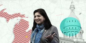 Michigan legislator Padma Kuppa; in background: Michigan state outline and Michigan state capitol dome