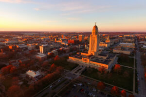 Sun sets over Nebraska State Capitol