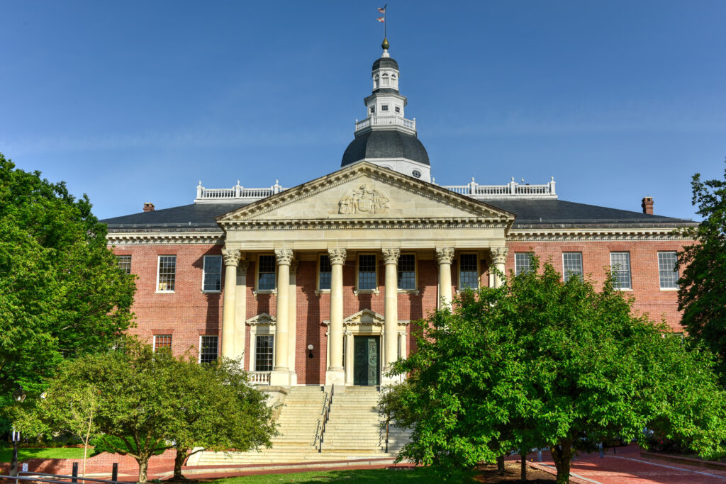 Maryland state capital building in annapolis, maryland on summer afternoon. It is the oldest state capitol in continuous legislative use, dating to 1772.