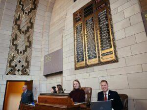 Nebraska state senator megan hunt presiding over state senate