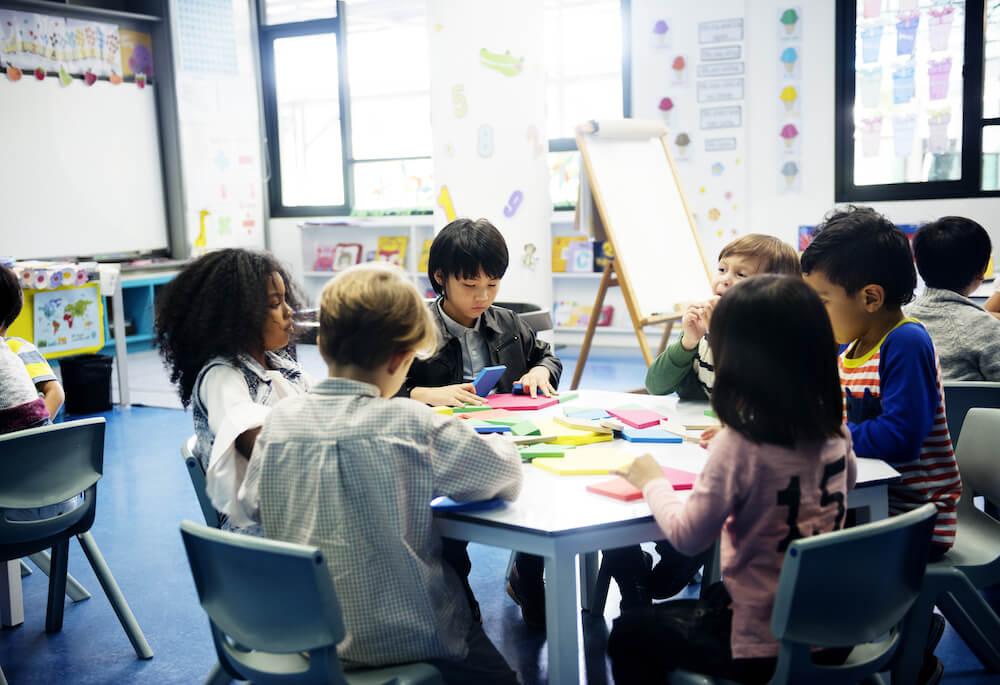 Group of diverse students at daycare or classroom