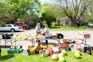 A drive-up food pantry in sherman, tx