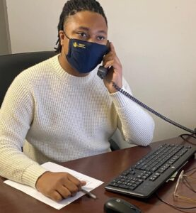 Rep. Malcolm kenyatta conducting a telephone town hall with thousands of constituents. (photo: facebook)