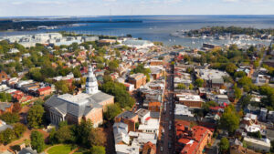 Aerial view of annapolis, maryland and the state capitol dome