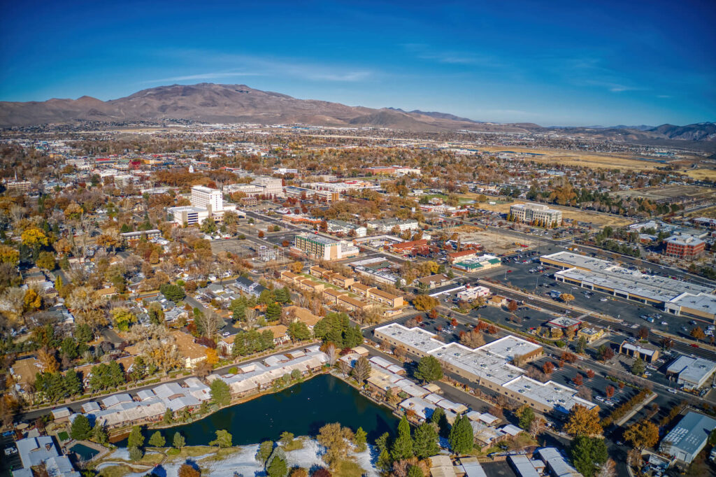 Aerial view of the nevada capitol in carson city
