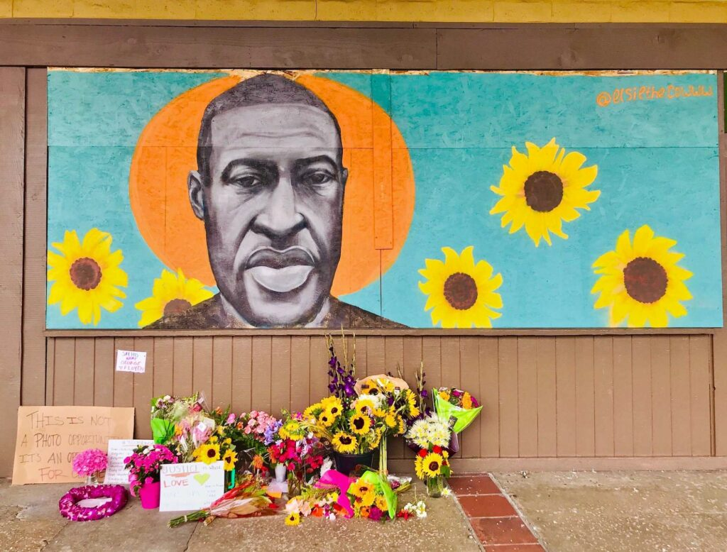 Mural and memorial for george floyd