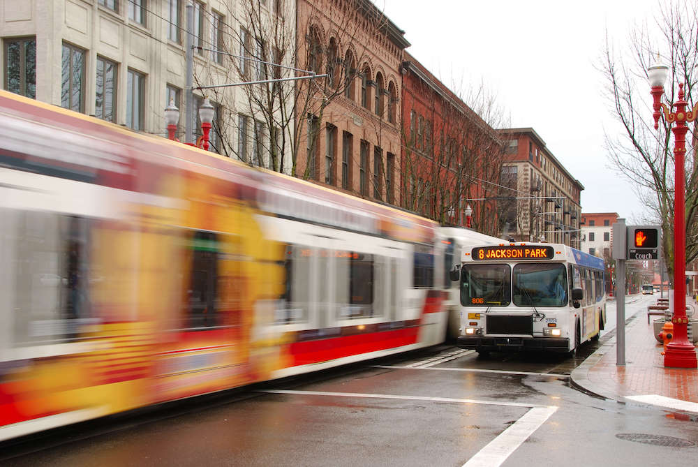 Portland oregon public buses in the downtown area