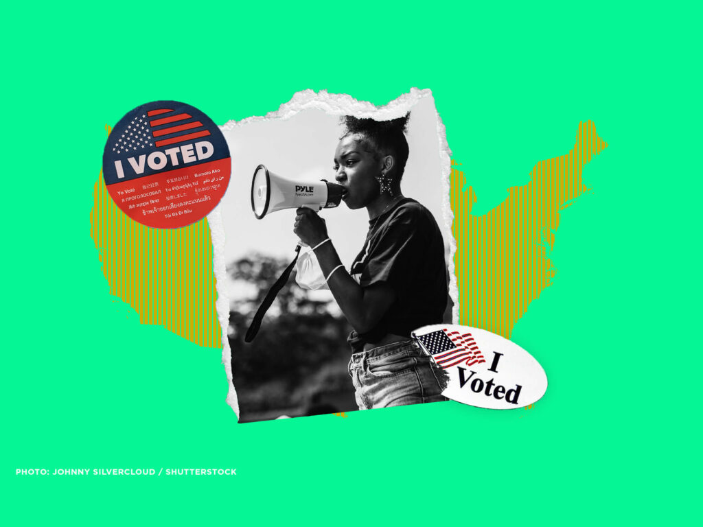 """Black women with bullhorn at protest; two """"i voted"""" stickers; in background, shape of the united states"""