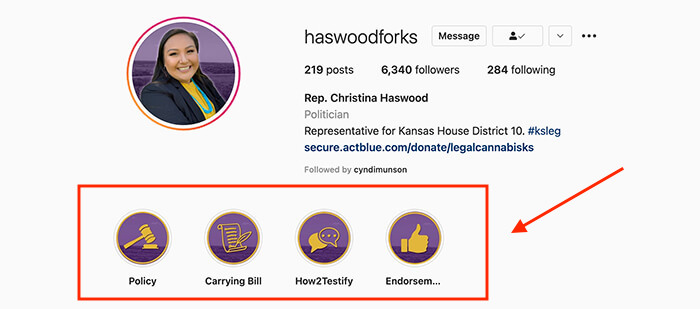 Screenshot of kansas rep. Haswood's instagram stories highlights