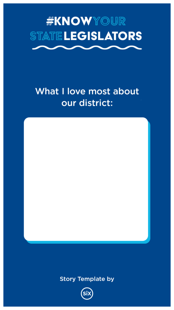 """Instagram story template; question reads """"what i love most about our district:"""""""
