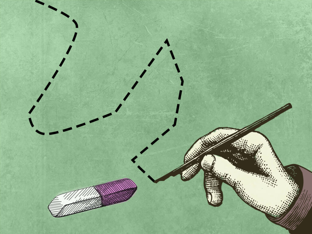 Vintage-style drawing of hand drawing dotted line near pink and white eraser across green expanse
